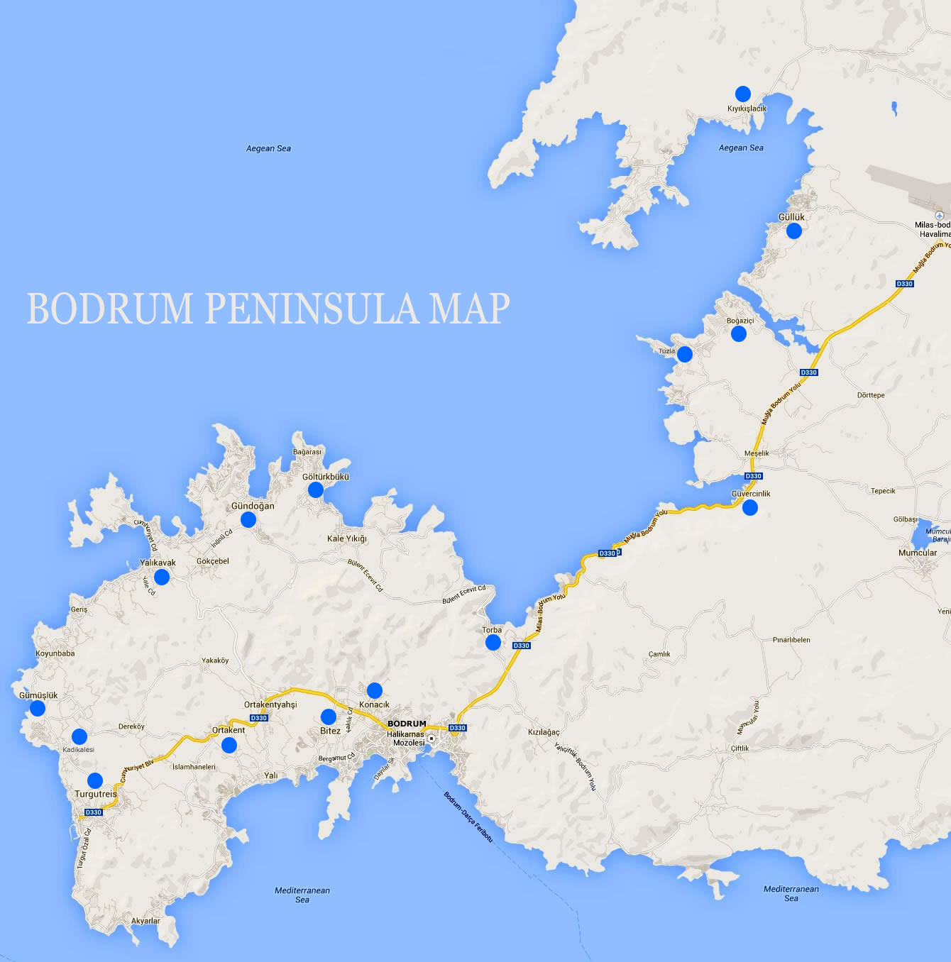 Detailed Bodrum Map